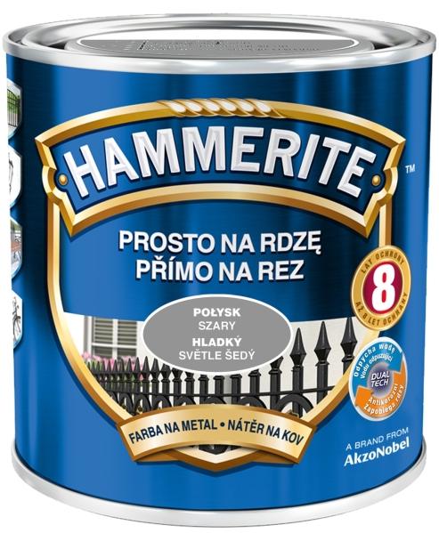 Farba do metalu Hammerite Prosto na Rdzę Połysk Szary